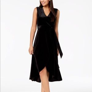 Aced Les Filles Black Velvet Faux Wrap Dress ALF11